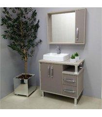 conjunto de banheiro são joão lótus, nude e taupe, 80 cm