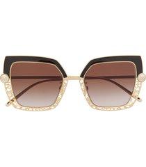 dolce & gabbana eyewear filigree & pearls butterfly-frame sunglasses -