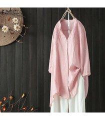 zanzea más el tamaño de manga larga de las tapas de la camisa botones asim informal llanura blusa de gran tamaño -rosado