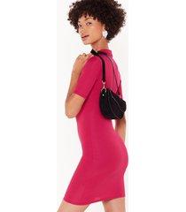 womens round neckline and fitted mini dress - fushia