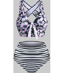 striped flower tied crisscross tummy control tankini swimwear