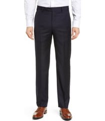 men's big & tall zanella todd relaxed fit flat front solid wool dress pants, size 46 x - blue