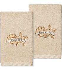linum home textiles beach life embroidered luxury hand towels, set of 2 bedding