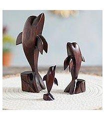 cedar wood figurines, 'dolphin family' (set of 3) (peru)