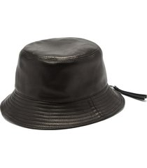 zipped-brim leather bucket hat
