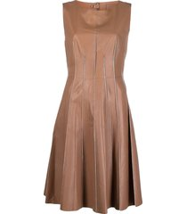 desa 1972 belted flared leather dress - neutrals