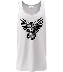 camiseta regata criativa urbana coruja tribal branca