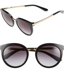 dolce & gabbana 52mm round sunglasses in black at nordstrom