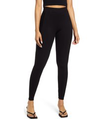 women's naked wardrobe snatched to the side ribbed leggings, size medium - black