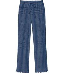 feminine ajour-broek met koord, rookblauw 36/38
