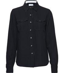police pkt shirt ls blouse lange mouwen zwart calvin klein