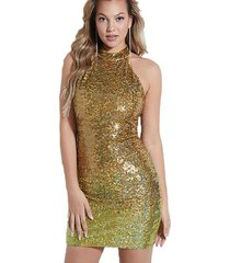 vestido sl merlyn ombre sequin dress f8r9 dorado guess