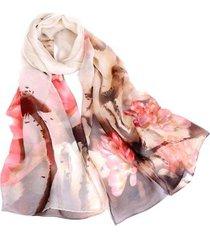 lenço de chiffon artestore estampado aquarelado grande, echarpe feminino