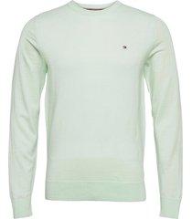 fine gauge merino wool crew neck stickad tröja m. rund krage grön tommy hilfiger tailored