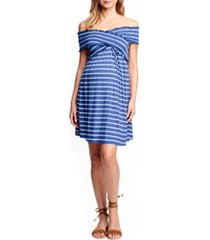 women's maternal america off the shoulder ribbed maternity dress, size large - blue