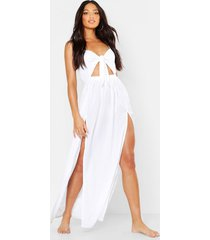 maxi strand jurk met strik en uitsnijding, white