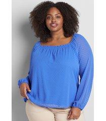 lane bryant women's clip-dot square-neck blouse 38/40 dazzling blue
