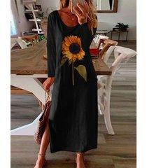 dobladillo con abertura con estampado de girasol mangas largas maxi vestido