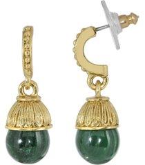 2028 gold-tone semi precious malachite drop earrings