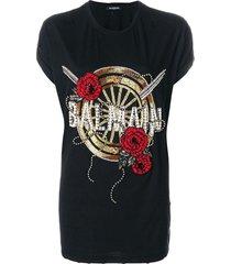 balmain oversized beaded logo t-shirt - black