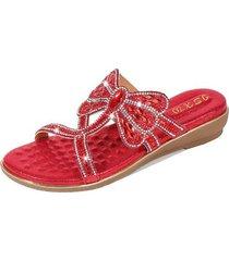 nuevo estilo sandalias antideslizantes mujer-rojo