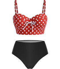 plus size polka dot underwire high rise tankini swimwear