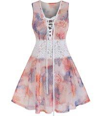 plus size lace up floral print babydoll set