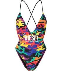 diesel logo camouflage print swimsuit - green