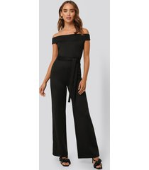 na-kd party boat neck jersey jumpsuit - black