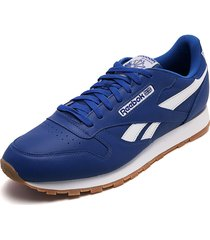 tenis running azul royal-blanco reebok cl leather mu
