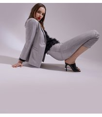 motivi giacca blazer monopetto lurex donna grigio