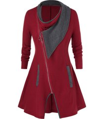 plus size contrast color full zip cardigan