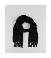 cachecol feminino com franjas preto