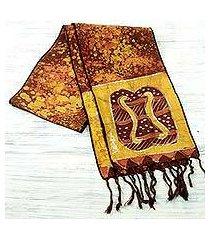 cotton batik scarf, 'golden brown unity chain' (ghana)