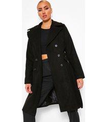 lange nepwollen jas met dubbele knopen en ceintuur, black
