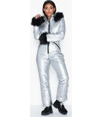 missguided ski snow suit jumpsuits silver