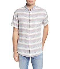 men's rails carson stripe short sleeve linen blend button-up shirt