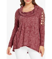 plus size lattice cutout cowl neck t-shirt