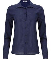 camisa cuello corbata rayas color azul, talla xs