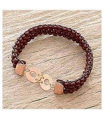 copper-accented beaded stretch bracelet, 'peten bohemian' (guatemala)