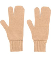 maison margiela knitted ribbed cuff gloves - neutrals