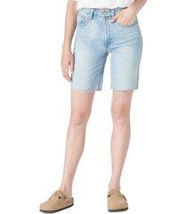 lucky brand cotton high-rise denim bermuda shorts