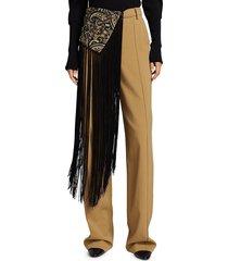 jonathan simkhai women's celeste paisley shawl detail pants - black khaki - size 2