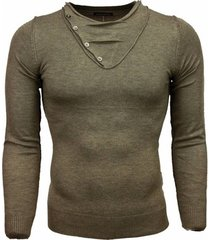 trui tony backer casual trui - trendy kraag design knopen -