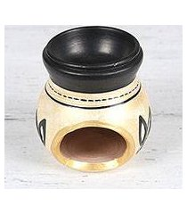 ceramic oil warmer, 'lotus fascination in beige' (india)