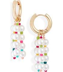 women's bp faux pearl drop hoop earrings