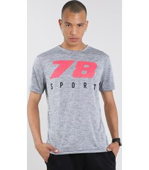 "camiseta masculina esportiva ace ""sport"" manga curta gola careca cinza mescla"