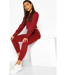 rib puff sleeve top and trouser co-ord, berry