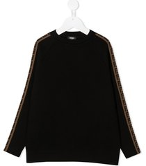 fendi black wool sweater with ff side bands