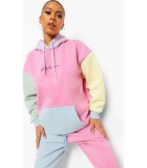 woman pastel geborduurd colour block hoodie, multi